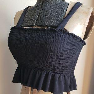 Zara NWT Shirred Bodice Ruffle Crop Tank Top